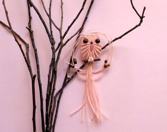 Cameo Pink Macrame Owl Necklace