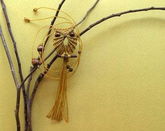 Citrine Yellow Macrame Owl Necklace, Macrame Jewelry, Miniature, Women Textile Jewelry, Nylon Cord, Owl Pendant, Micro Macrame Owl