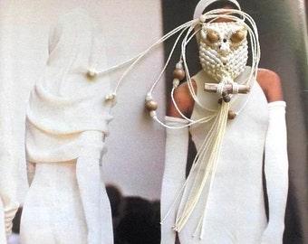 Cream Beaded Owl Necklace, Macrame Owl Necklace, Owl Pendant Necklace, Adjustable Necklace, Owl Jewelry, Women Necklace, Macrame Jewelry