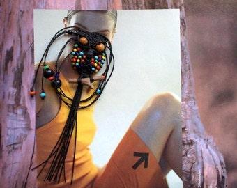 Macrame Owl Necklace, Black Pendant, Multicolor Beads, Owl Pendant, Macrame Owl, Women Necklace, Micro Macrame Owl, Textile Jewelry
