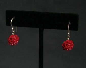 Red Chrysanthemum Earrings