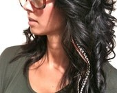 Black 6 Feather Hair Extension Long - Salon Grade : FREE micro link clamp