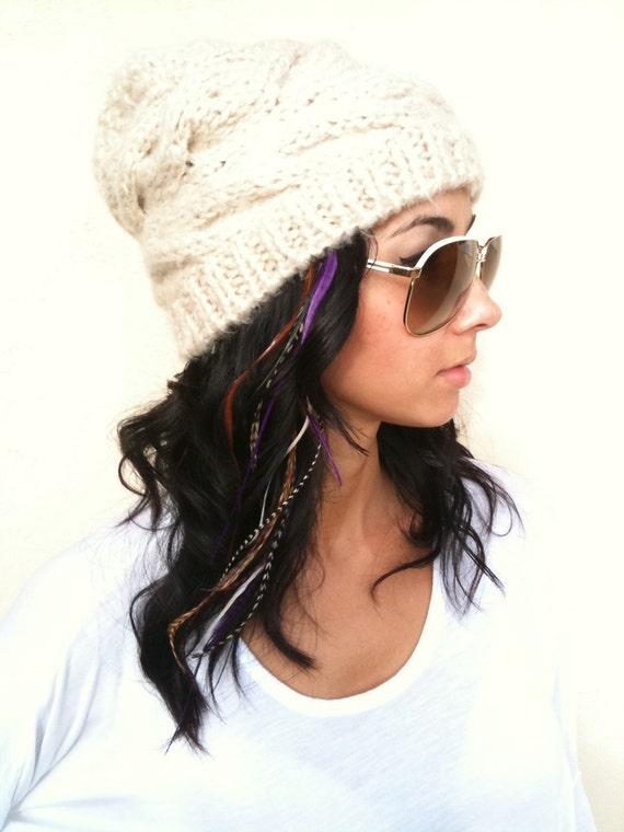 BEST LONG Purple 6 Feather Hair Extension - Salon Grade Whiting Feathers : Free micro link clamp