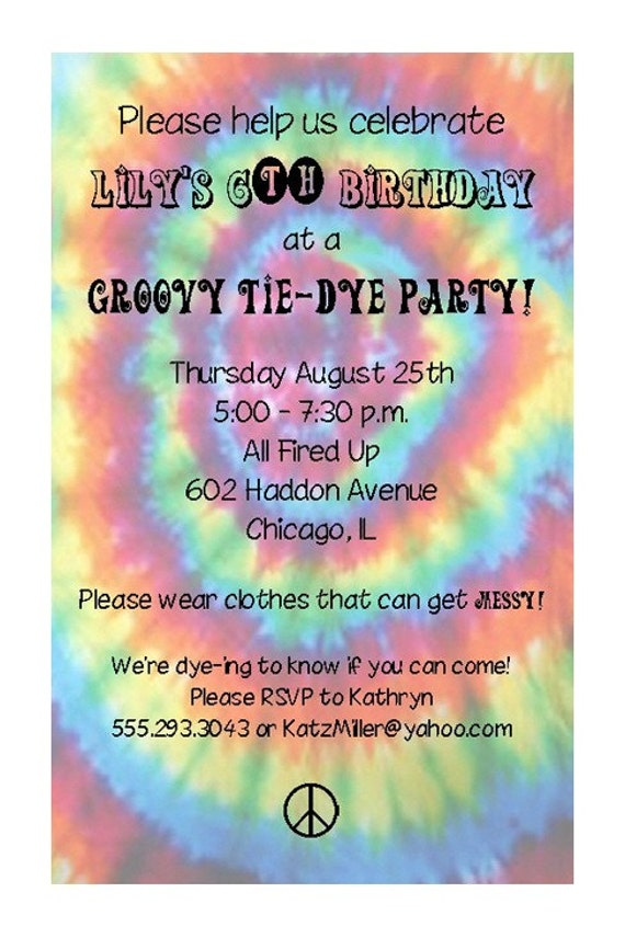 tie dye invitations free