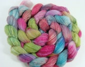 SALE Hand Dyed Merino Superwash, Bamboo, and Nylon Top for Spinning Super Bright Spumoni Color