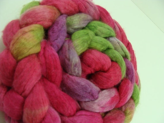 SALE Hand Dyed Merino and Tencel Top for Spinning Intense Reds and Fuchsia Colors Devil's Daughter Combo