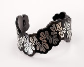 Ammonite Cuff - stainless steel and black acrylic bracelet
