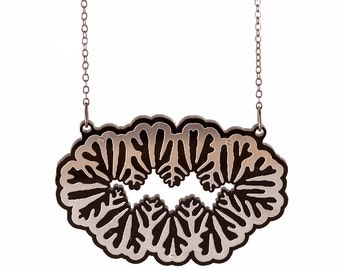 Interphase Pendant - stainless steel and black acrylic necklace