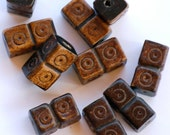 SALE 7x14mm Carved Square Tube Horn Beads (8) NAT12