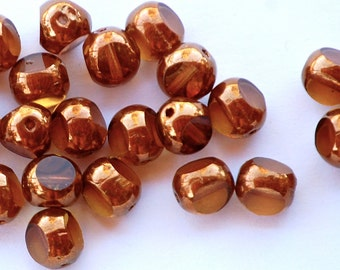 8mm Antique Style Triangle Bronze and Topaz Table Cut Beads (25) FIRE5