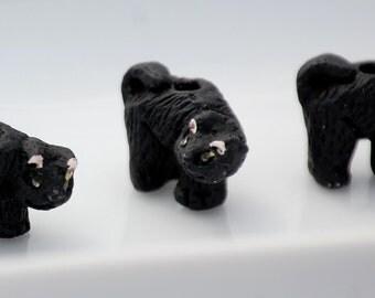 9x12mm Black Halloween Cat Peruvian Clay Beads (2) CLA19