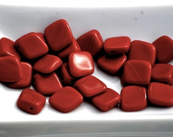 12mm OPAQUE DARK RED Glass Nugget Beads (25) ROP2
