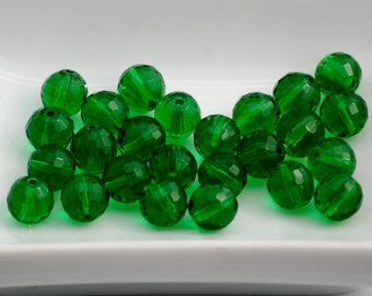 8mm Transparent DARK GREEN Faceted Crystal Round Beads (15) CHI30