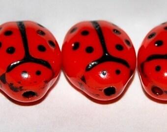 25 Opaque Bright Orange Ladybug Beads 9x7mm ROP11