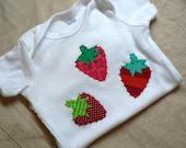 You Choose Size Custom Strawberry Fruit Applique Onesie or Shirt