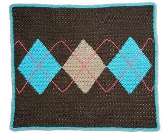 Crochet Pattern--Argyle Baby Blanket
