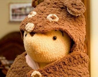 Crochet Pattern--Teddy Bear Hooded Blanket