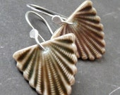 Art Deco Fan in Warm Harvest - Porcelain Earrings