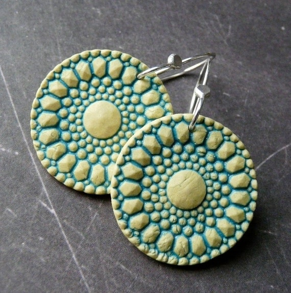Porcelain Earrings  - Lots O Dots in Yellow and Turquoise