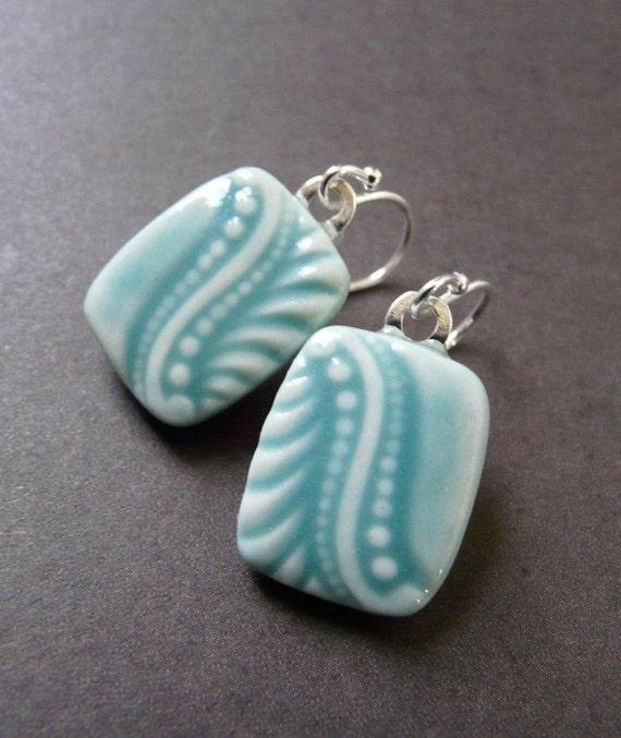 Edwardian Wave in Light Turquoise - Porcelain Earrings
