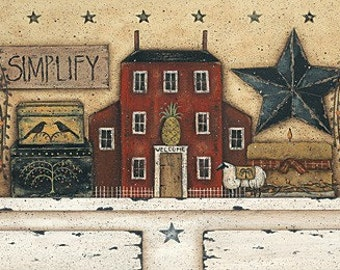 SIMPLIFY. A New England style folk art still life print by Donna Atkins. Distressed cupboard, saltbox, barn star, sheep, pineapple, crows.