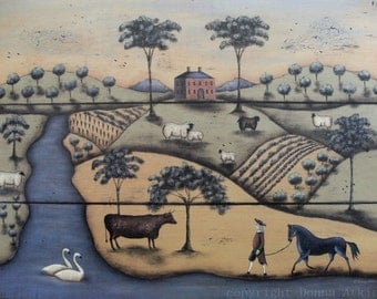 Pastoral Landscape Folk Art Print, The Gentleman Farmer by Donna Atkins