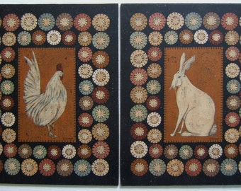 Penny Rug Rabbit and Rooster, DIY Painting Craft E-Pattern by Donna Atkins. Primitive Folk Art.