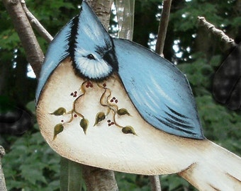 6 Cottage Folk Art BIRDS, a DIY painting e-pattern by Donna Atkins, set of six. Christmas ornaments, gift tags,and more