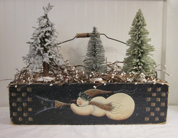 Flying Snowman, Saltbox Folk Art Design Hand Painted on Rustic Box by Donna Atkins, navy, tan, cream, green