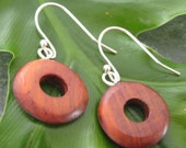 Nambaro Circle Earrings - sustainable cocobolo wood earrings