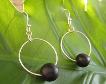 Fiesta Earrings - recycled silver hoops with black patacon seed, ecofriendly earrings