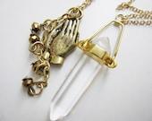 Mystic hands and quartz necklace - 3 in 1 - 001