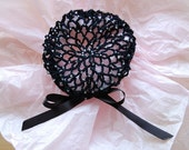 Black Crocheted Hair Bun Cover with Silver-Lined AB Crystal Beads- Small
