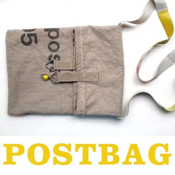 Canvas Shoulder Bag \/ Upcycled Post Bag