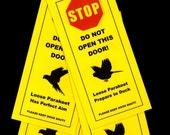 Parakeet Signs Helps Keep Loose Bird Safe from Open Doors