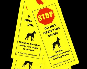 Keep Miniature Pinscher safe with Friendly Door Alerts that Protect small Dog