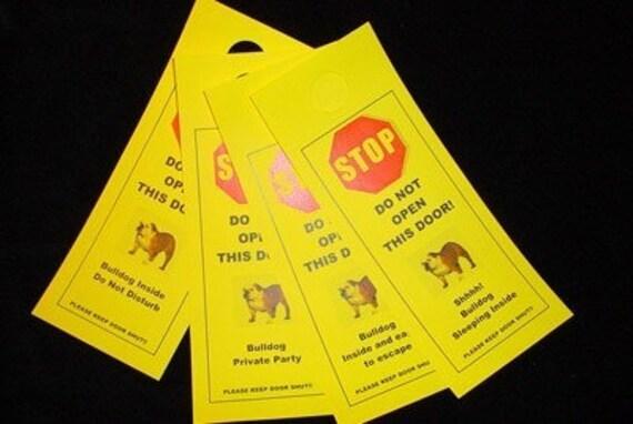 English Bulldog's Friendly Alternative to Beware of Dog signs Keeps Dog Safe