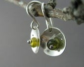 Green Garnet Bead and Sterling Silver Dish Earrings