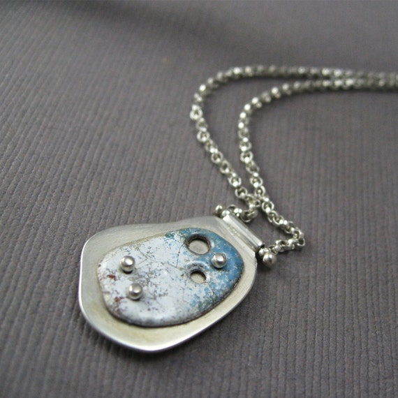 Reflected Pool Enamel and Sterling Silver Necklace