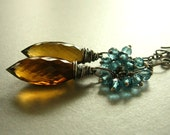 magadelena earrings cognac quartz and blue topaz with oxidized sterling silver