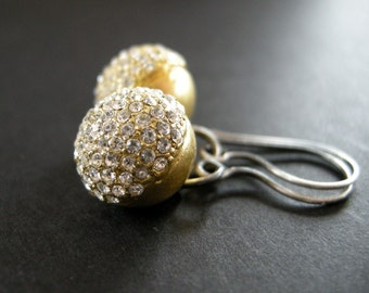 vintage crystal pave earrings, vintage button earrings, pave crystal earrings