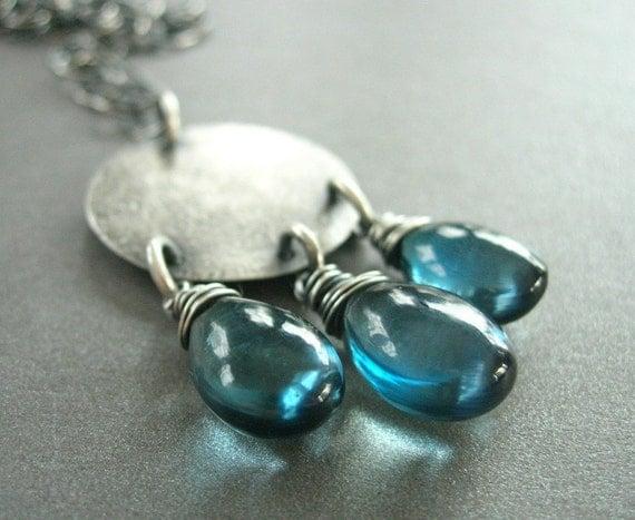 london blue topaz necklace, hammered sterling silver topaz necklace, gemstone necklace, handmade necklace