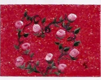 BUDDING LOVE - 4th  In Heart And Roses ACEO Series
