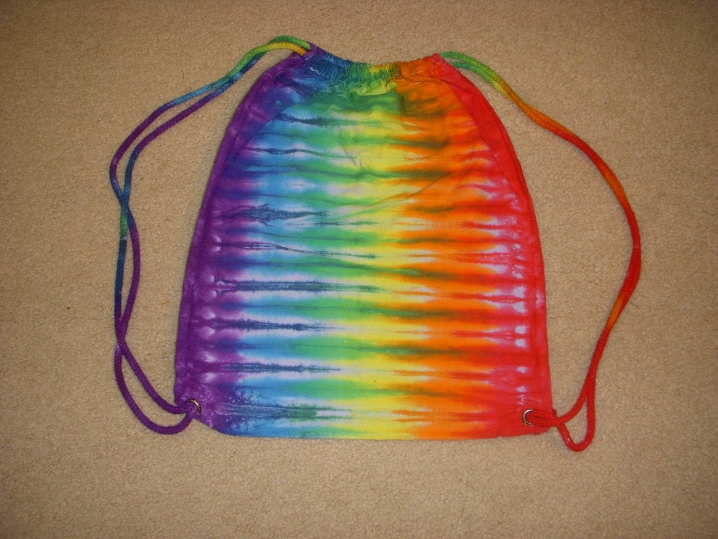Cotton drawstring backpack tie dye stripe design