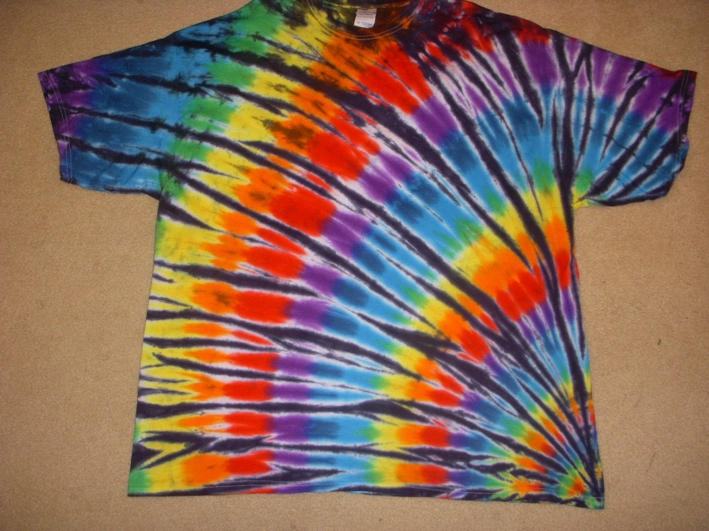 3x tie dye tshirt rainbow fan design xxxl