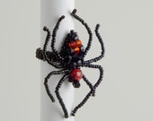 Black and Red Crystal Beaded Spider Ring