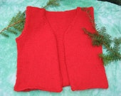 Hand knit red vest for size 2 to 4 toddler SALE