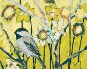 Chickadee in Daffodils 8 x 10 inch Bamboo Fine Art Print by Jenlo