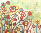 """Vivid Floral Abstract - """"Garden of My Dreams"""" -  Fine Art Print by Jenlo, 9x12 and larger"""