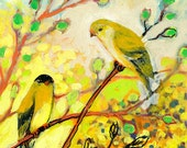 "Goldfinch Pair ""Whispered Secrets No 2"" 8 x 10 inch Fine Art Print by Jenlo"